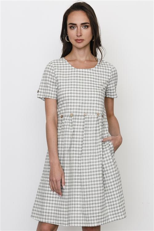 Gingham Dress in Sage