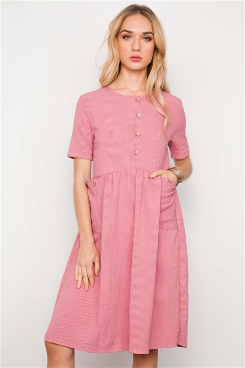 Carly Button Dress in Mauve