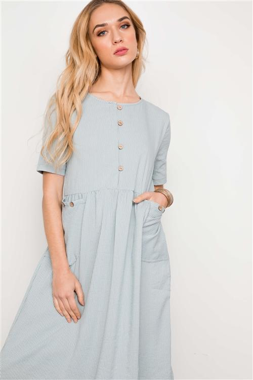 Carly Button Dress in Sage