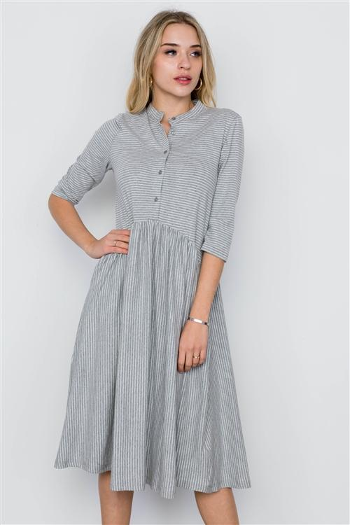 Sophia Striped Dress in Grey