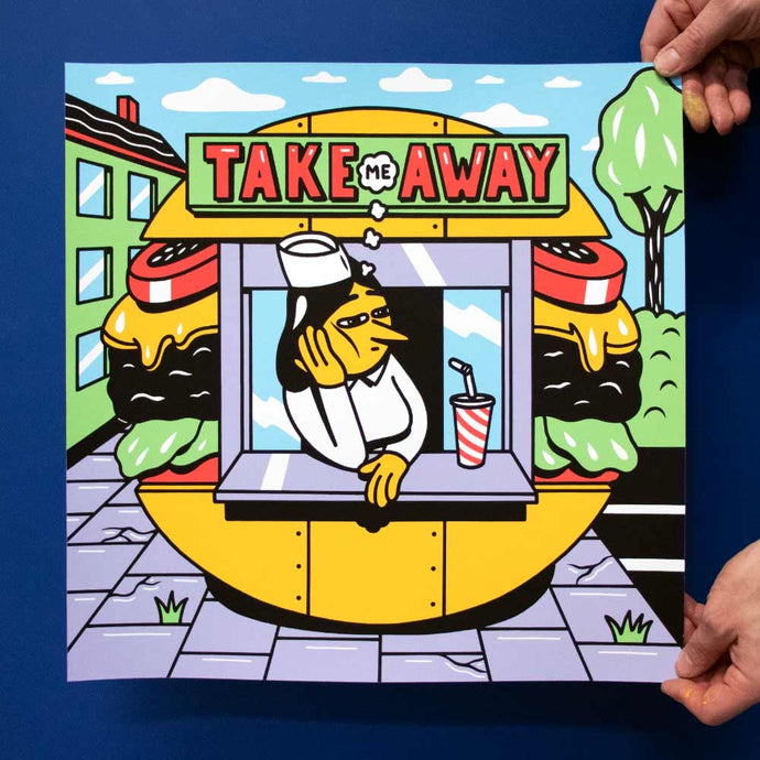 New Silk Screen print. Available in the web shop. Title 'Take Me Away'. 40x40cm, Edition of 65. Signed and numbered by HuskMitNavn