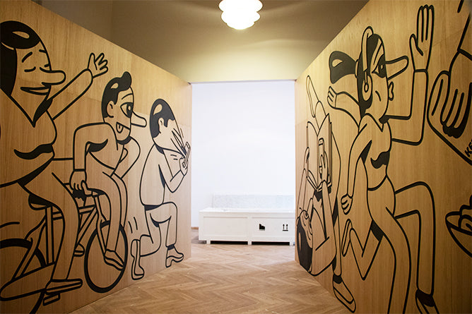 Woodcut walls for the BIG architects show at Charlottenborg, Denmark