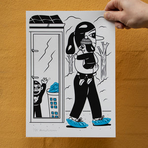 'The Blue Shoes' Silkscreen print. A4 size. Edition of 85. Available in the webshop