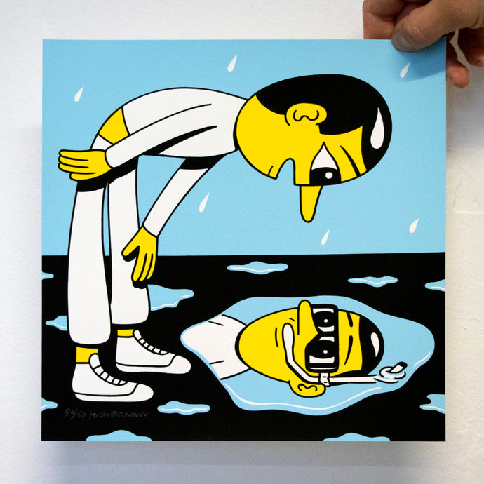 THE PUDDLE. New silkscreen print. Available in the webshop. 25 x 25 cm, edition of 50. Signed and numbered by HuskMitNavn