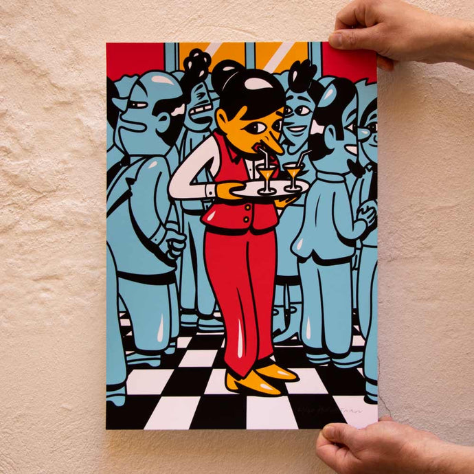 New print in the web shop. Title: 'The Waiter' A3 size, handpulled silkscreen print on heavy acid free paper, edition of 60. Signed and numbered by HuskMitNavn