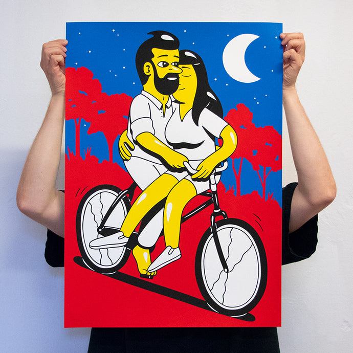SUMMER NIGHT. New silkscreen print. Available in the webshop. 50 x 70 cm, edition of 60. Signed and numbered by HuskMitNavn