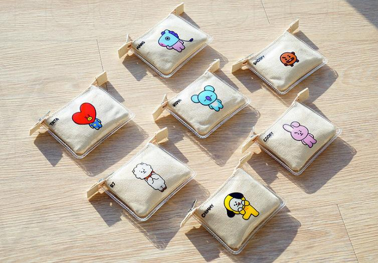 BT21 Character Zip Card Pouch Backpack Lunar Noona