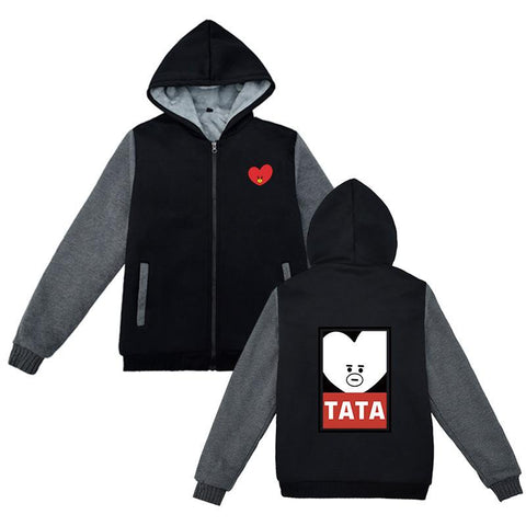 "BT21 Chracter Zip Up ""Obey"" Hoodie Hoodies Lunar Noona TATA"