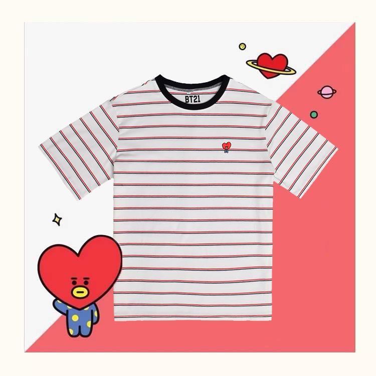 BT21 Character Striped T-Shirt - TATA Short Lunar Noona S