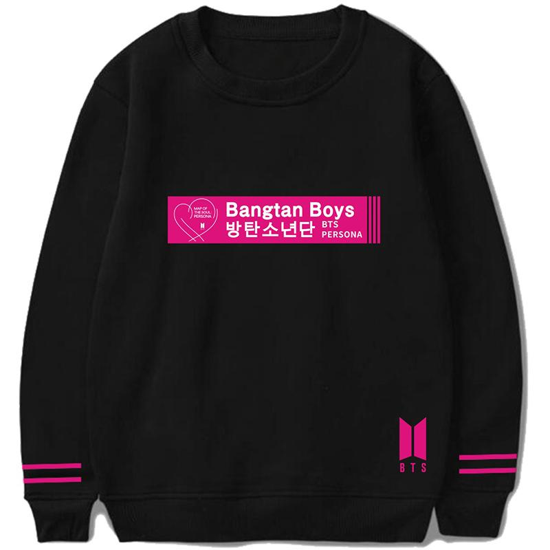 "BTS Map Of The Soul: Persona Album Logo ""Bangtan Boys"" Double Striped Sleeve Sweater Sweaters Lunar Noona Black S"