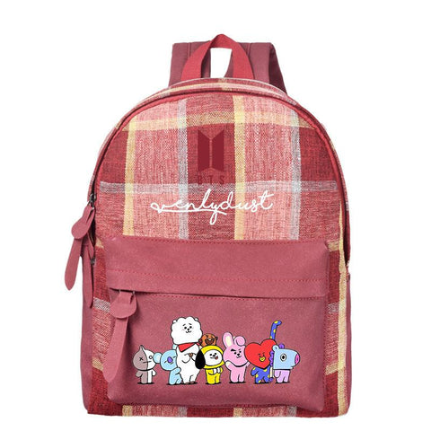 BTS x BT21 Plaid Student Backpack Backpack Lunar Noona Red