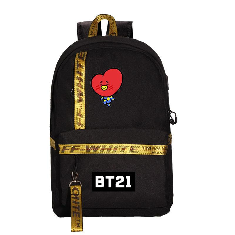 BT21 FF-White Character Shoulder Backpack Backpack Lunar Noona TATA Black