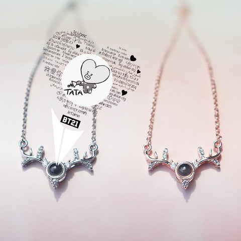 BT21 Secret Message 'Deer' Pendant Necklace Jewelry Lunar Noona