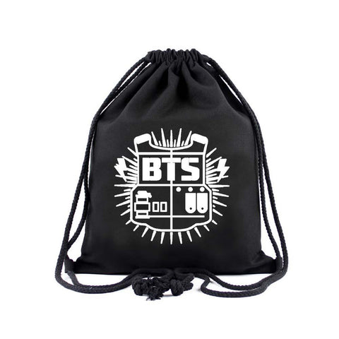 "BTS ""Bulletproof Logo"" Drawstring Bag Backpack Lunar Noona Black"