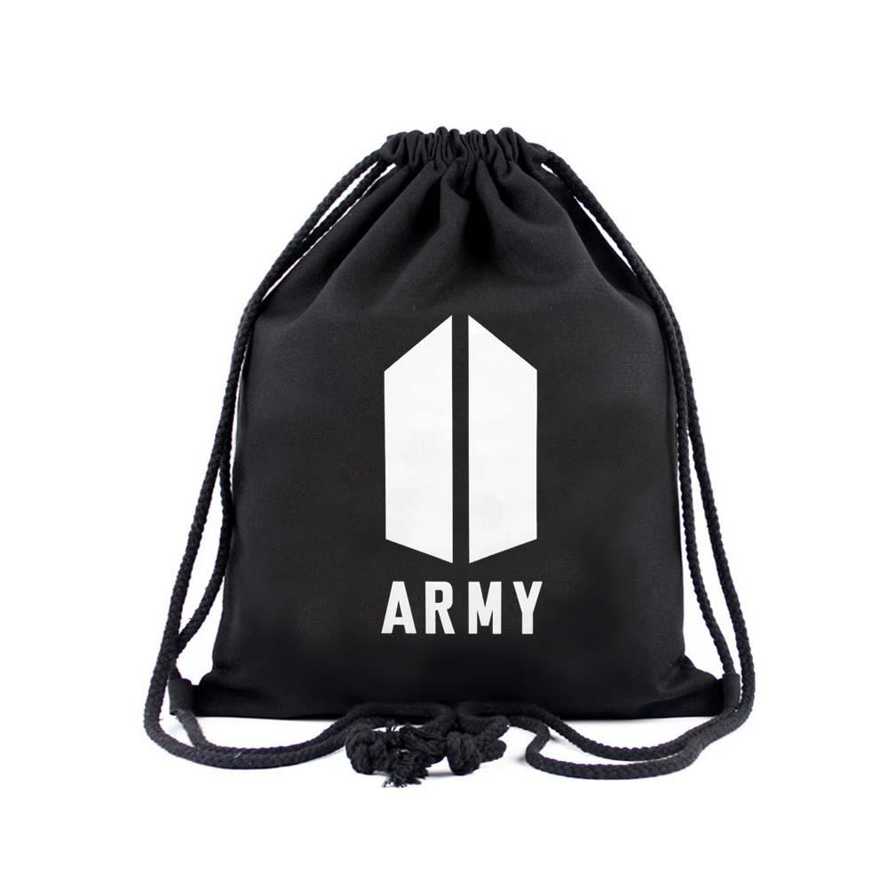 BTS Army Logo Drawstring Bag Backpack Lunar Noona Black