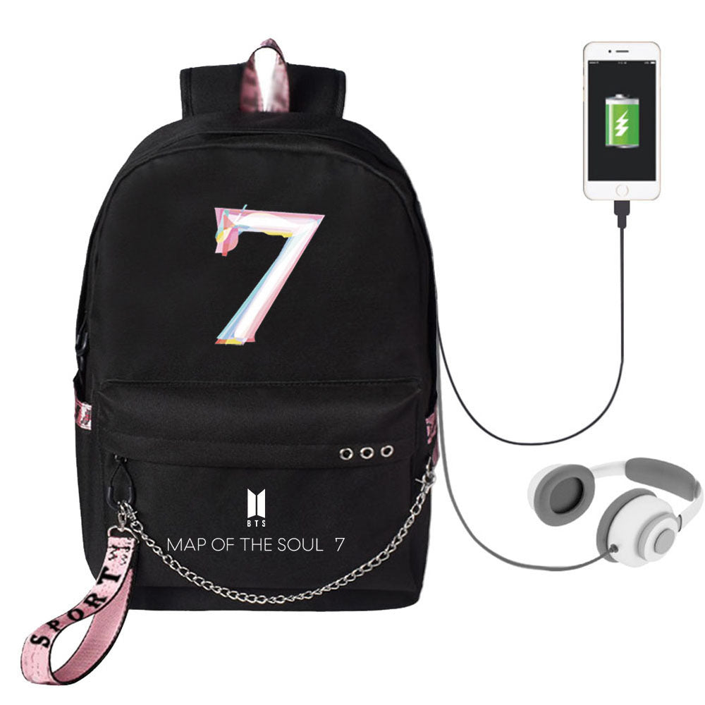 BTS Map Of The Soul: 7 Chain Logo Logo USB Charging Backpack