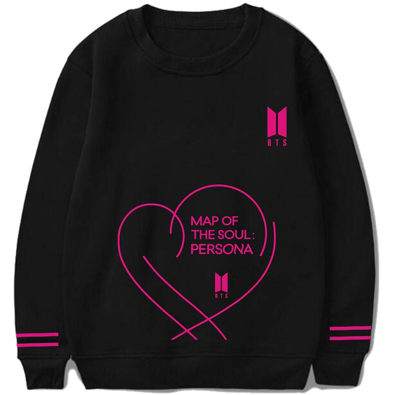 BTS Map Of The Soul: Persona Album & Classic Logo Double Striped Sleeve Sweater Sweaters Lunar Noona Black S