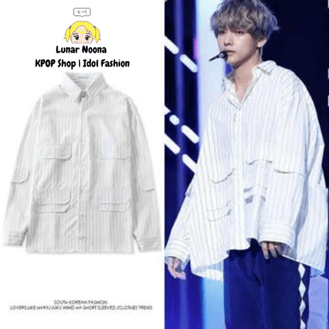 BTS Striped Oversized Button Up Sweater- V Sweaters Lunar Noona