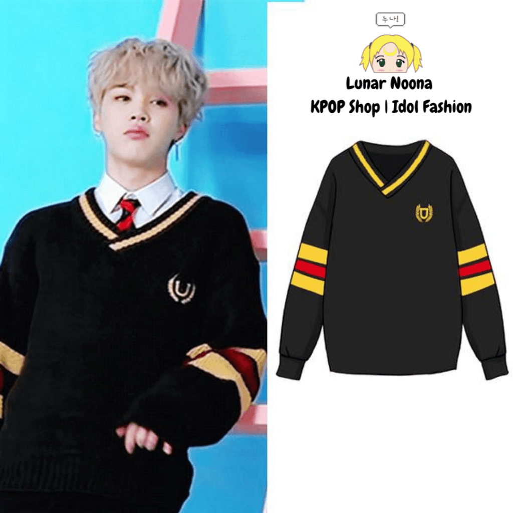 BTS University Cable V Neck Sweater- JIMIN Sweaters Lunar Noona