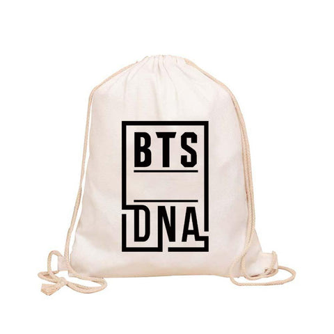 "BTS ""DNA"" Drawstring Bag Backpack Lunar Noona White"