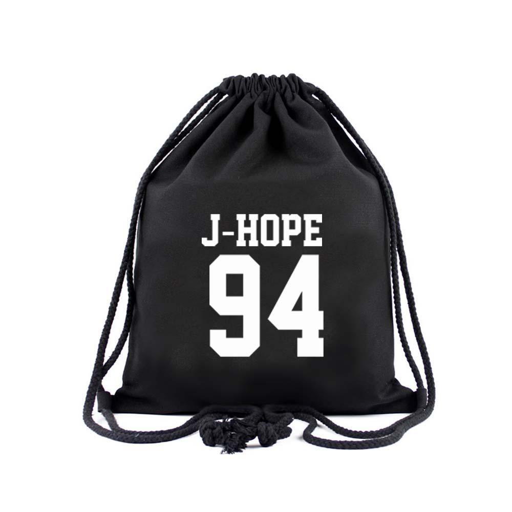 BTS Member Drawstring Bag- J-HOPE Backpack Lunar Noona Black
