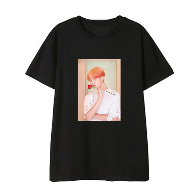 "BTS Map Of The Soul: Persona ""Roses Photoshoot"" Member T-Shirt- JIMIN Short Lunar Noona Black XXS"