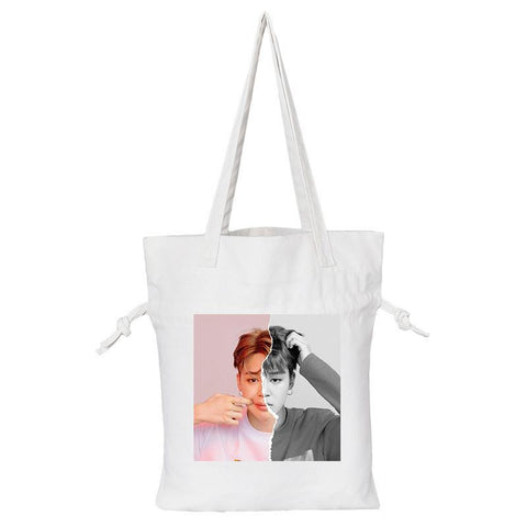 "BTS Love Yourself: Answer ""Concept Photo L Version"" Member Tote Bag- JIMIN Backpack Lunar Noona White"