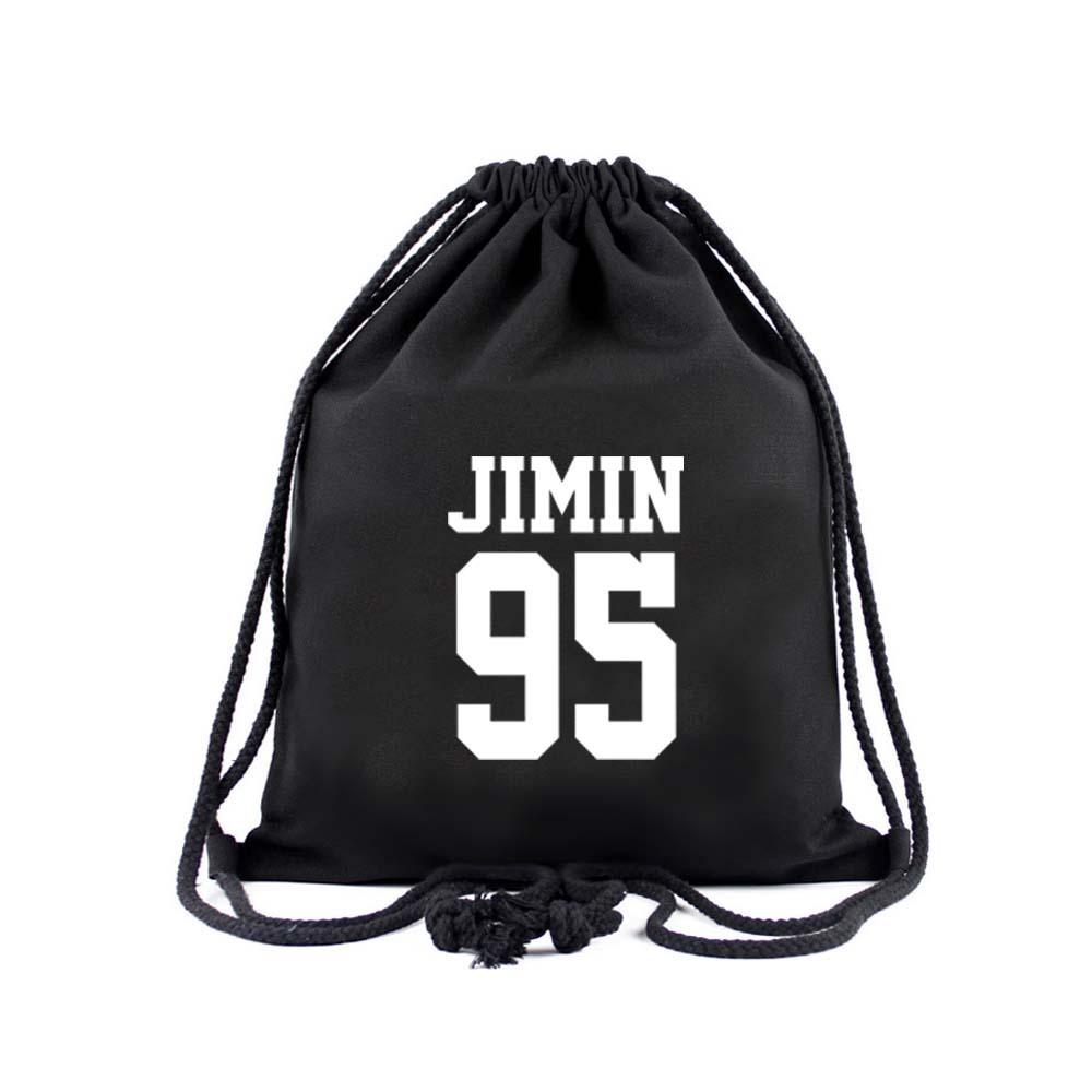 BTS Member Drawstring Bag- JIMIN Backpack Lunar Noona Black