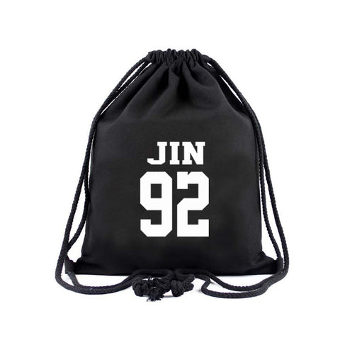 BTS Member Drawstring Bag- JIN Backpack Lunar Noona Black