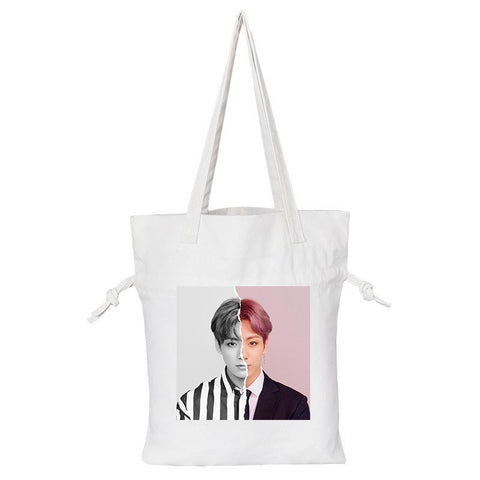 "BTS Love Yourself: Answer ""Concept Photo L Version"" Member Tote Bag- JUNGKOOK Backpack Lunar Noona White"