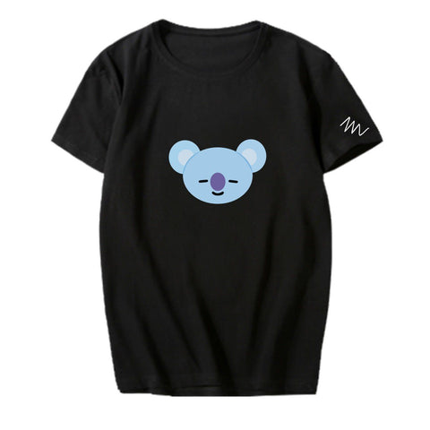 BT21 Character Sleeve Signed T-Shirt- KOYA Short Lunar Noona Black S