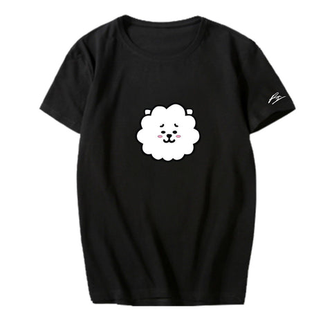 BT21 Character Sleeve Signed T-Shirt- RJ Short Lunar Noona Black S