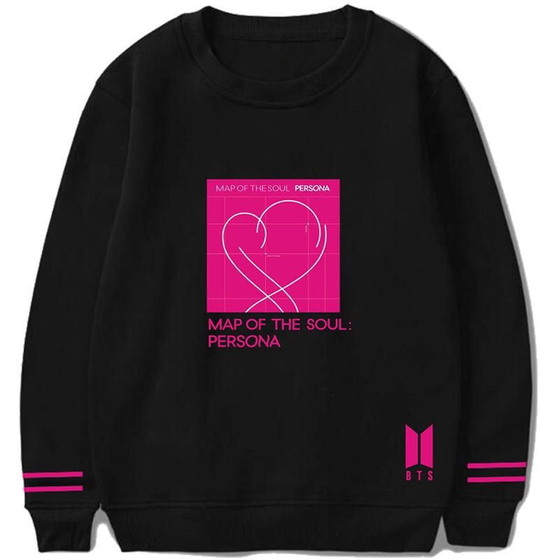 BTS Map Of The Soul: Persona Album Logo Double Striped Sleeve Sweater Sweaters Lunar Noona Black S