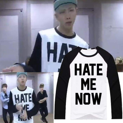 BTS Hate Me Now Long Sleeve Baseball Sweater- RM Sweaters Lunar Noona