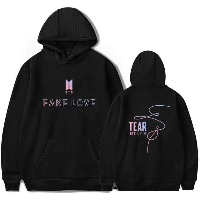 "BTS Love Yourself: Tear Fake Love ""Colors"" Hoodie Hoodies Lunar Noona Black 4XL"