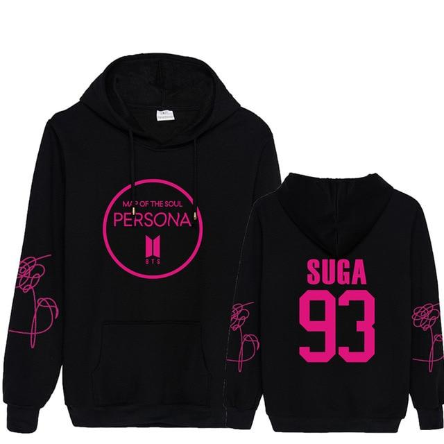 BTS Map Of The Soul: Persona Logo Member Hoodie- SUGA Hoodies Lunar Noona Black L