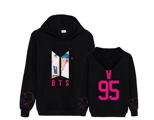 "BTS Map Of The Soul: Persona ""Roses"" Member Hoodie- V Hoodies Lunar Noona Black S"