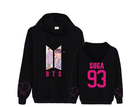 "BTS Map Of The Soul: Persona ""Roses"" Member Hoodie- SUGA Hoodies Lunar Noona Black S"