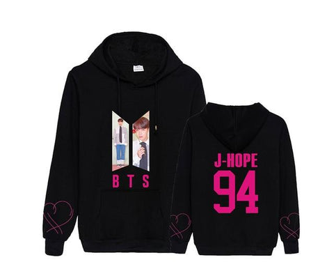 "BTS Map Of The Soul: Persona ""Roses"" Member Hoodie- J-HOPE Hoodies Lunar Noona Black S"