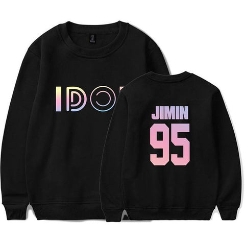 "BTS Love Yourself: Answer ""Idol Colors"" Member Sweater- JIMIN Sweaters Lunar Noona Black 4XL"