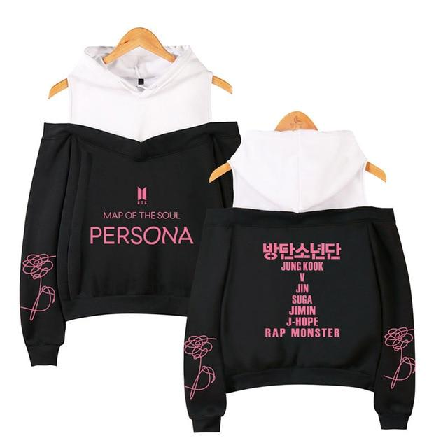 "BTS Map Of The Soul: Persona ""방탄소년단"" All Member Cropped Shoulder Hoodie Hoodies Lunar Noona Black XS"