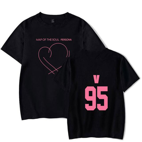 BTS Map Of The Soul: Persona Album Logo Member T-Shirt- V Short Lunar Noona Black 4XL