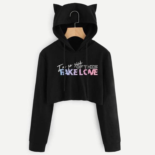 "BTS Love Yourself: Tear ""Im So Sick"" Crop Top Cat Hoodie Hoodies Lunar Noona Black L"