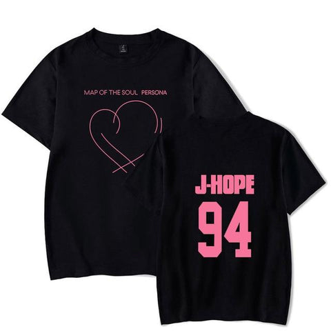 BTS Persona: Map Of The Soul Album Logo Member T-Shirt- J-HOPE Short Lunar Noona Black XXXL