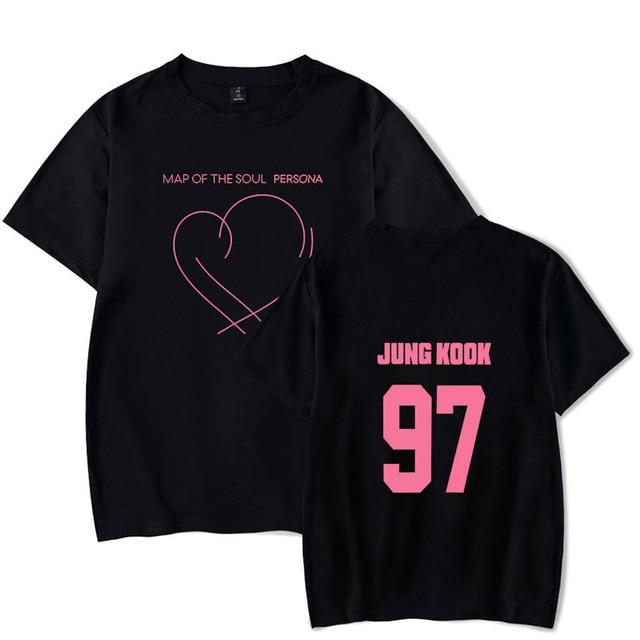 BTS Persona: Map Of The Soul Album Logo Member T-Shirt- JUNGKOOK Short Lunar Noona Black XXXL