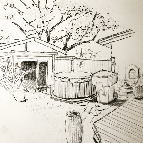A little sketching in the backyard