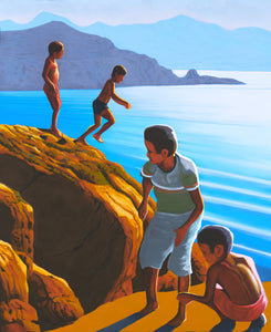 "Greek boys on the rocks (18"" x 15"")"