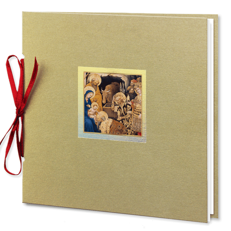 Religious Christmas Card With Red Ribbon