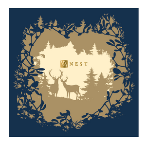 Bespoke - Nest Management Laser Cut Navy Blue Card With Reindeers