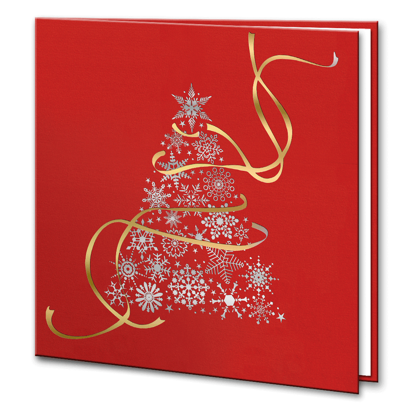 Red Silver and Gold Foil Christmas Tree